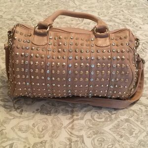 Handbags - Tan gold and bling studded purse
